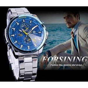 Image 3 - Forsining Blue Ocean Design Silver Steel 3 Dial Calendar Display Mens Automatic Mechanical Sport Wrist Watches Top Brand Luxury