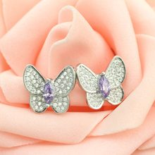 Female money inlay zircon butterfly silver earrings 925 sterling silver earrings Character charm female butterfly silver earring(China)