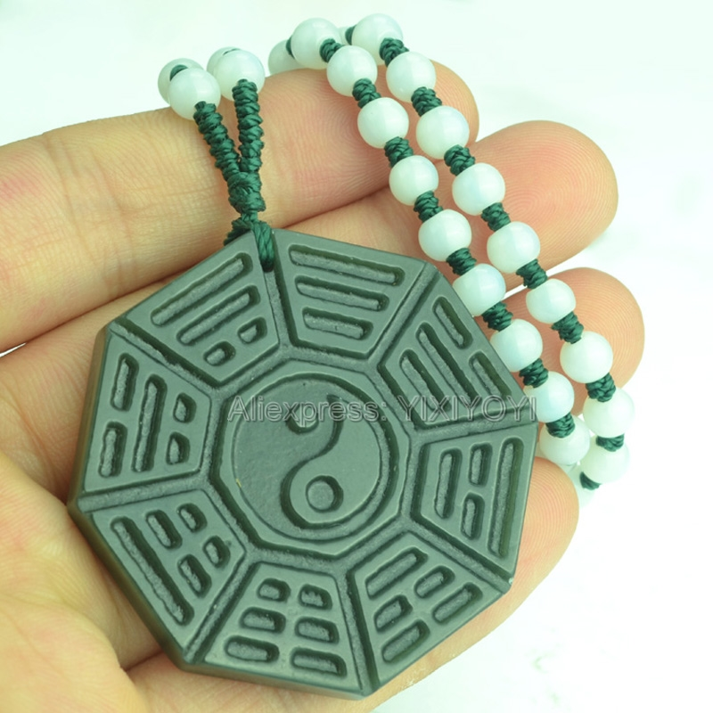 Beautiful Handwork Natural Green HeTian Jade Carved Chinese BaGua Lucky Amulet Pendant + Free Necklace Certificate Fine Jewelry