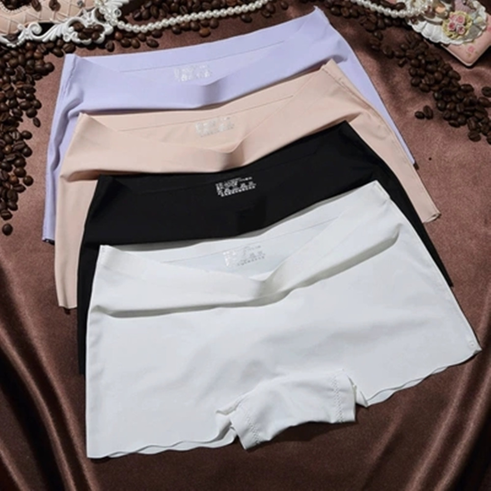 2019 New Plus Size Ice Silk Seamless Sexy Breathable Safty Pants Pure Color Women Underwear Boxer Woman   Panties   Briefs