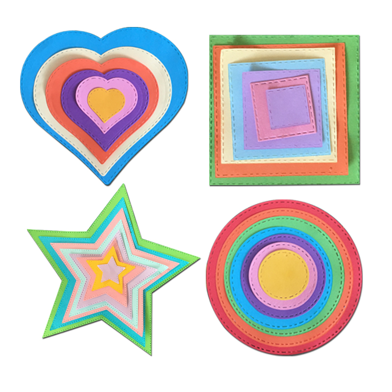 heart stars Geometry pattern frames Metal Steel Cutting Embossing Dies For Scrapbooking paper craft home decoration