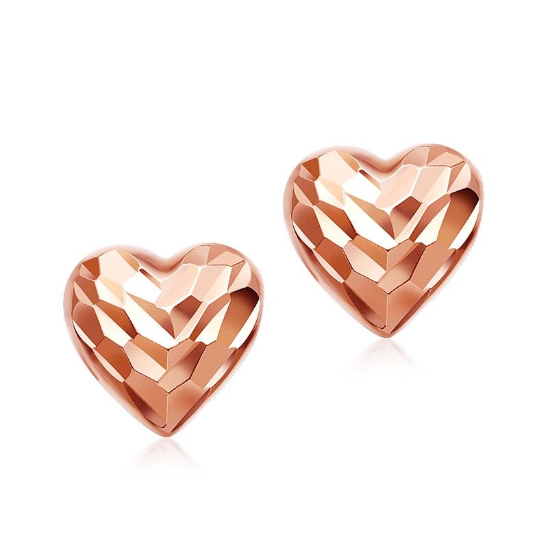 Solid AU750 Rose Gold Earrings Women glaring Heart Stud Earrings