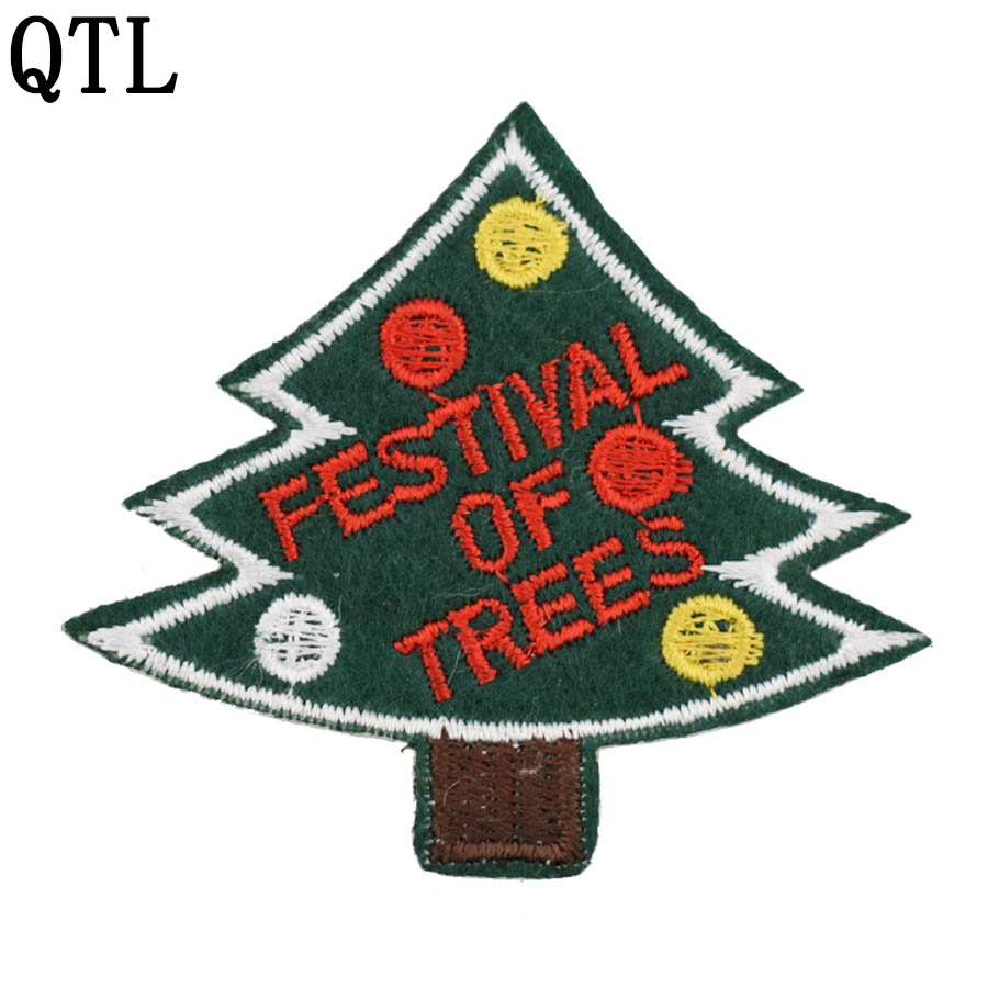 Christmas Tree Patch: Diy Christmas Tree Patches For Clothing Iron Embroidered