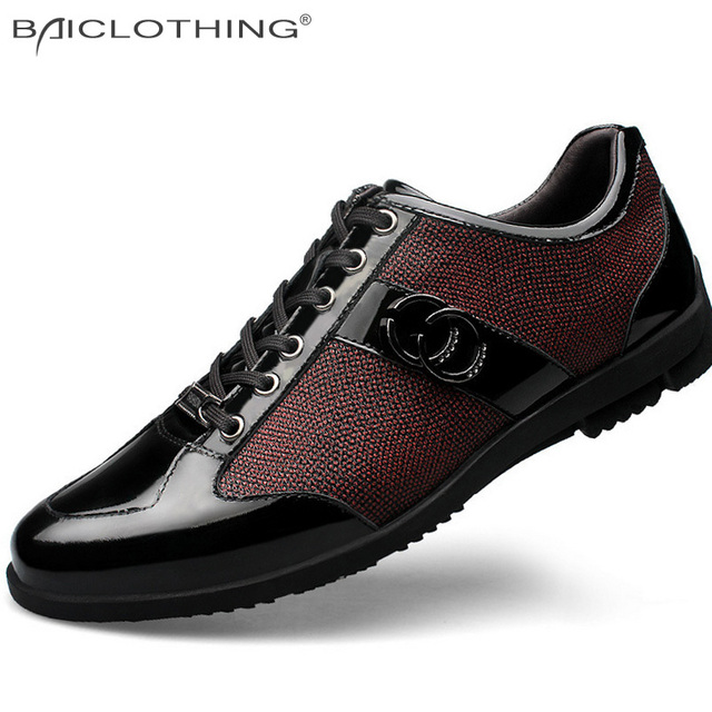 Leather Splicing Fashion Flat Shoes 2016 Breathable Lace-up Hit Color Outdoor Leisure Shoes Blue Wine Color Men Shoes