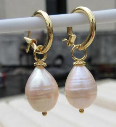 Baroque 13X11 mm natural AAA South Sea pink Pearl Earrings 14K YELLOW GOLD