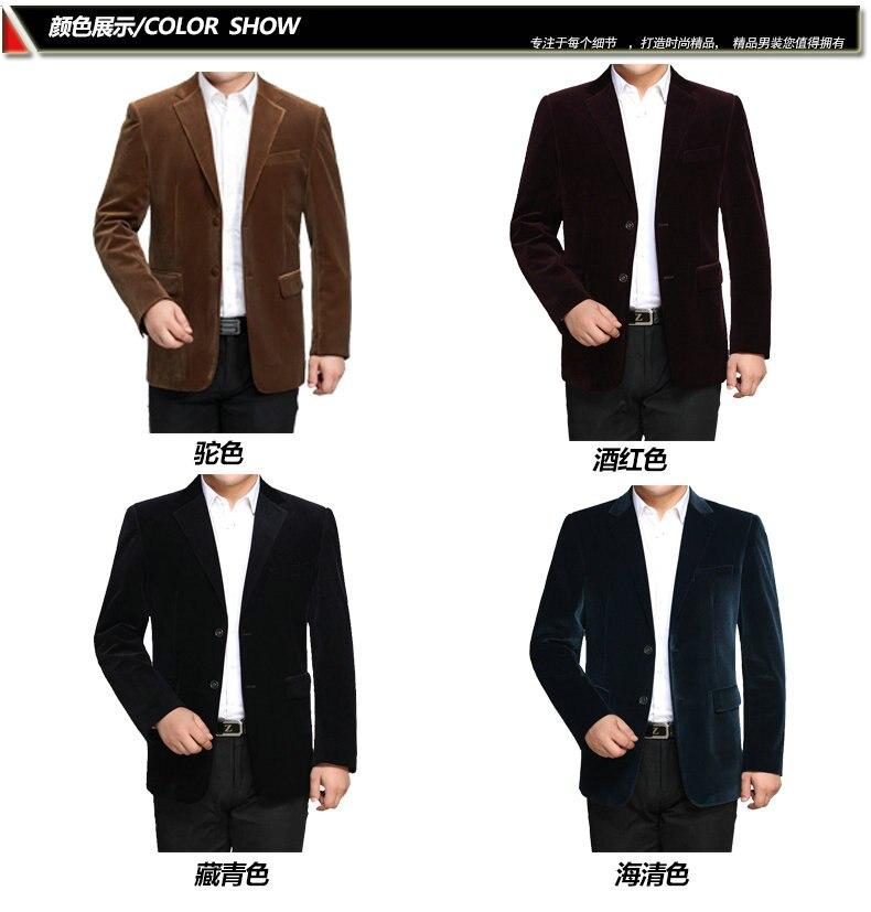 WAEOLSA Men Striped Velvet Blazers Elegant Plain Color Suit Coats Man Wool Blazer Hombre Corduroy Suit Jackets Red Navy Blue Uniform (2)