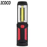 ICOCO 1pcs Waterproof 5W 350LM COB Magnetic Work Flashlight Torch Hand Lamp for Fishing Hiking Camping Flash Deal Sale