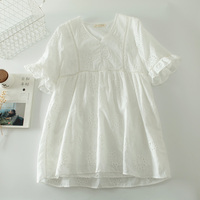 fairy sweet cotton hollow out embroidered v neck flare sleeve white dress