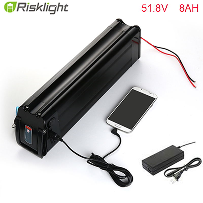 все цены на No taxes High quality 52v ebike battery 52v 8ah lithium ion battery pack with charger for 8fun mid drive motor kits with 5V USB