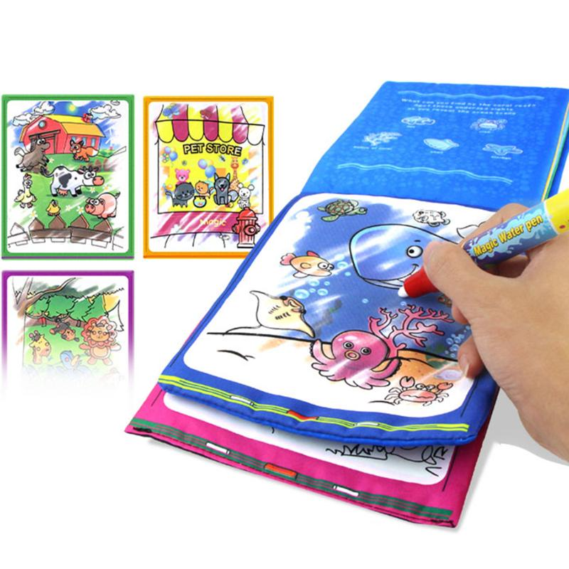 Kids Coloring Drawing Toy Animals Magic Water Drawing Book with Magic Pen Doodle Painting Board Children Educational Drawing Toy