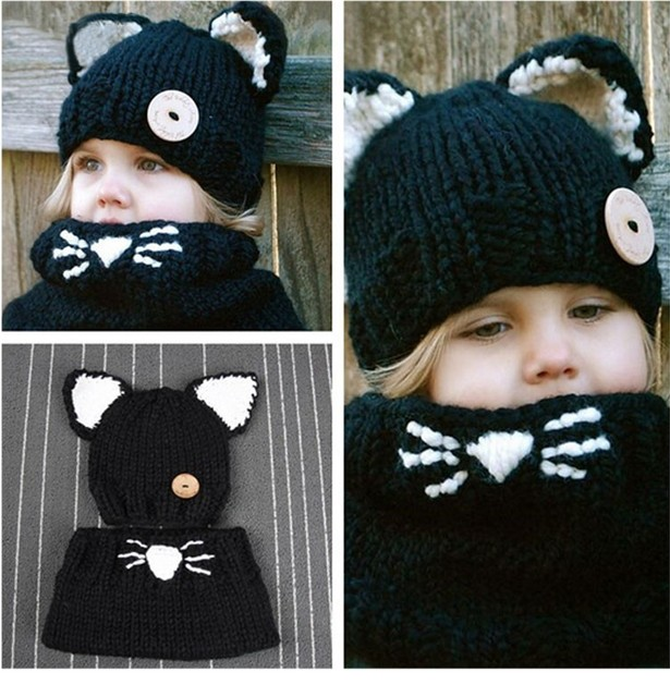 d710d780a18 Kids Knitted Hat 3D cat Hat For Girls Winter Caps Kitty Shawl Hats Casual  Animal Connecting Cap For Girls For 2-5Y