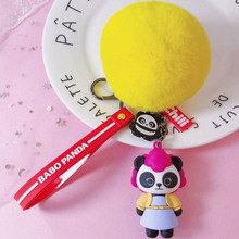 Fashion Jewelry Cute Panda Family Member Keychains Women Bag Charm Bell Key Ring Pendant Gifts Accessories