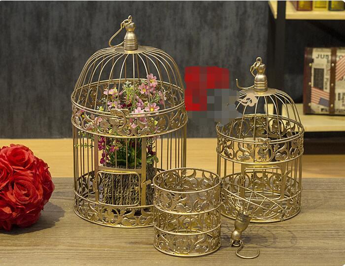 Oro caliente decoracin jaula de pjaros hecho a mano vela linterna