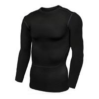 גרביונים שכבת בסיס עור גברים ריצת חולצה חולצות דחוס מהיר יבש לנשימה הילוך גמיש צוואר O שרוול ארוך ספורט גופיות