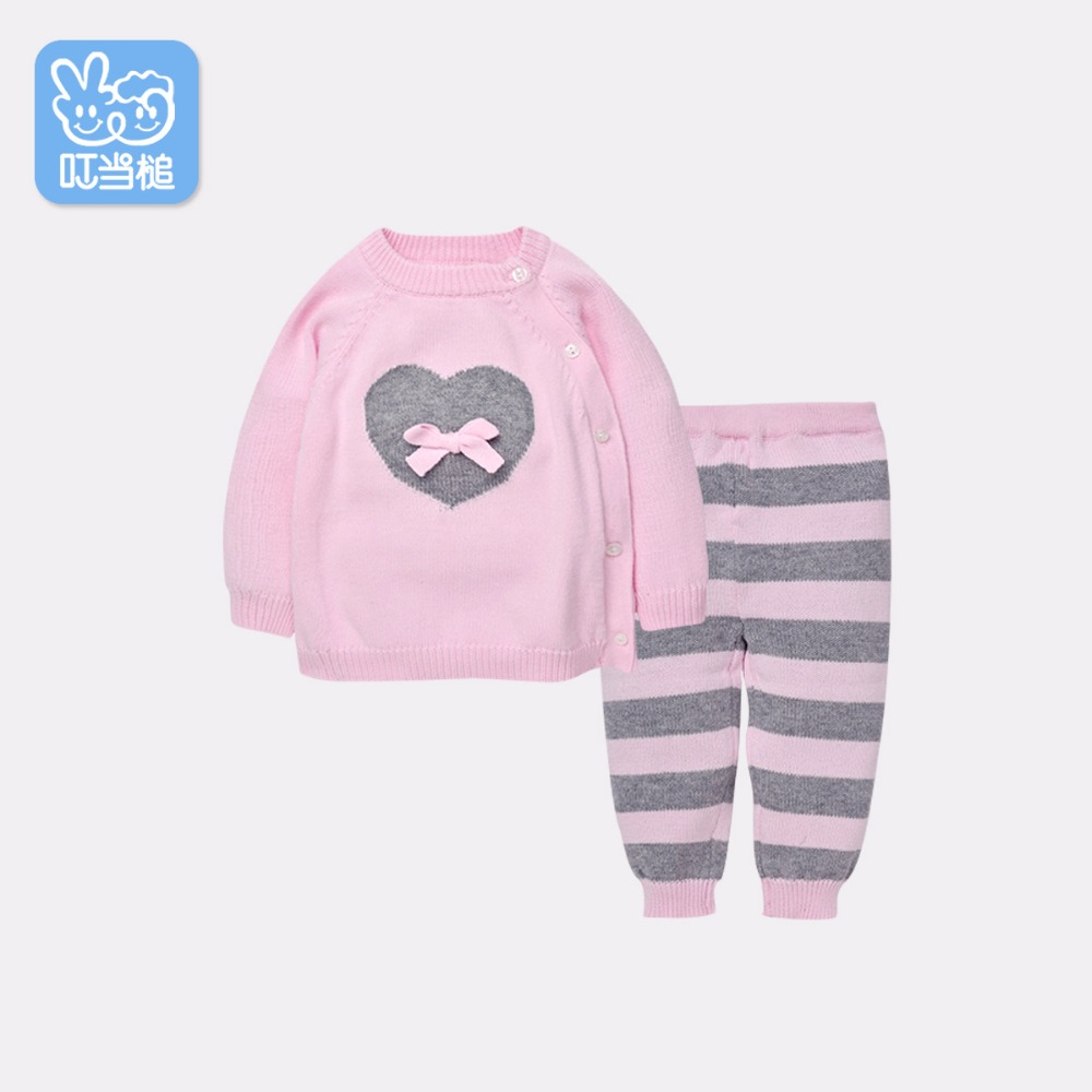 Dinstry Baby Boy Girl Clothes Spring and Autumn Knitted Pullovers+Pants 2pcs suit Turtleneck Sweaters Warm Outerwear Outfits