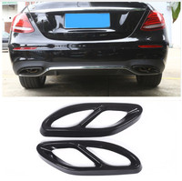 2pcs Gloss Black Steel Exhaust Trims For Mercedes Benz GLC C E Class C207 Coupe 2014 2017 W212 W213 W205 X253 C180 C200 Car Part