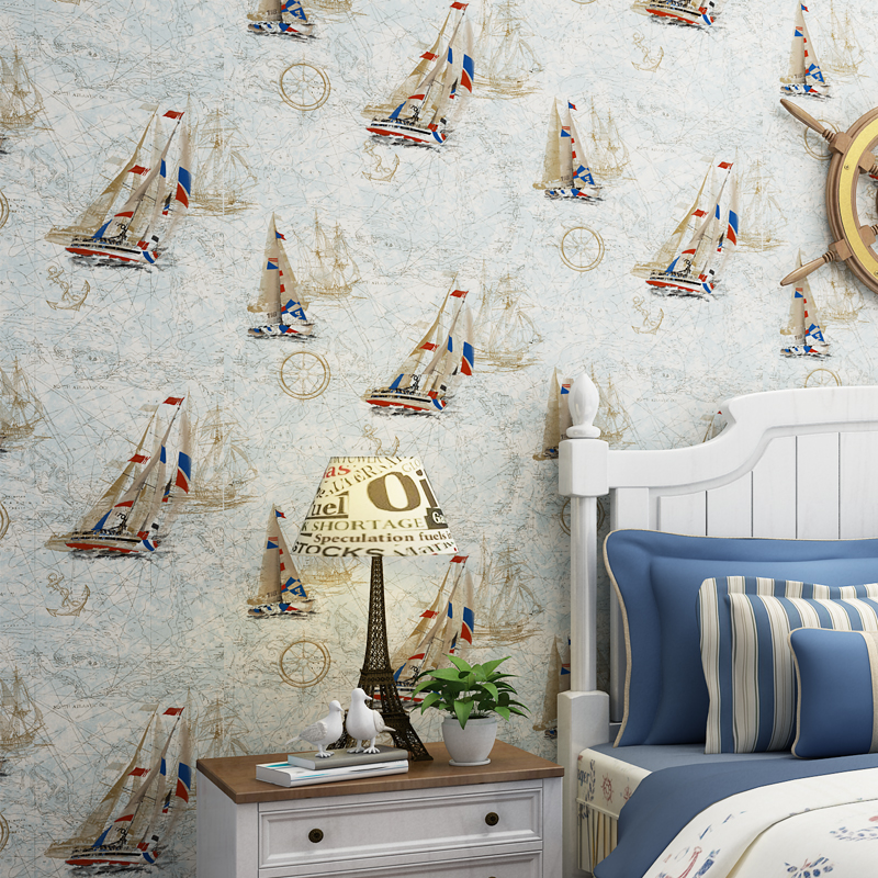 beibehang Mediterranean style wallpaper cartoon sailboat children's room boy bedroom striped wallpaper green non-woven wallpaper beibehang children room non woven wallpaper wallpaper blue stripes car environmental health boy girl study bedroom wallpaper