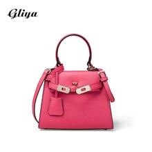 Gliya 2016 Summer Handbag Women Mini Girl Bag Shoulder Strap Crossbody Bag Metal Lock Satchel Candy Color Leather HandbagsG15254