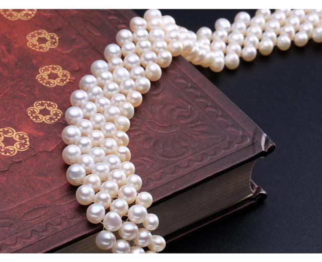 Natural słodkowodne Pearl naszyjnik Choker muiltlaye Pearl Vintage naszyjnik dla kobiet mały perłowy naszyjnik tanie i dobre opinie RIANCY Freshwater Pearls Srebrny 925 Sterling Chokers Necklaces N3006 Klasyczny Ślub 5-6mm freshwater pearl necklace Geometryczne