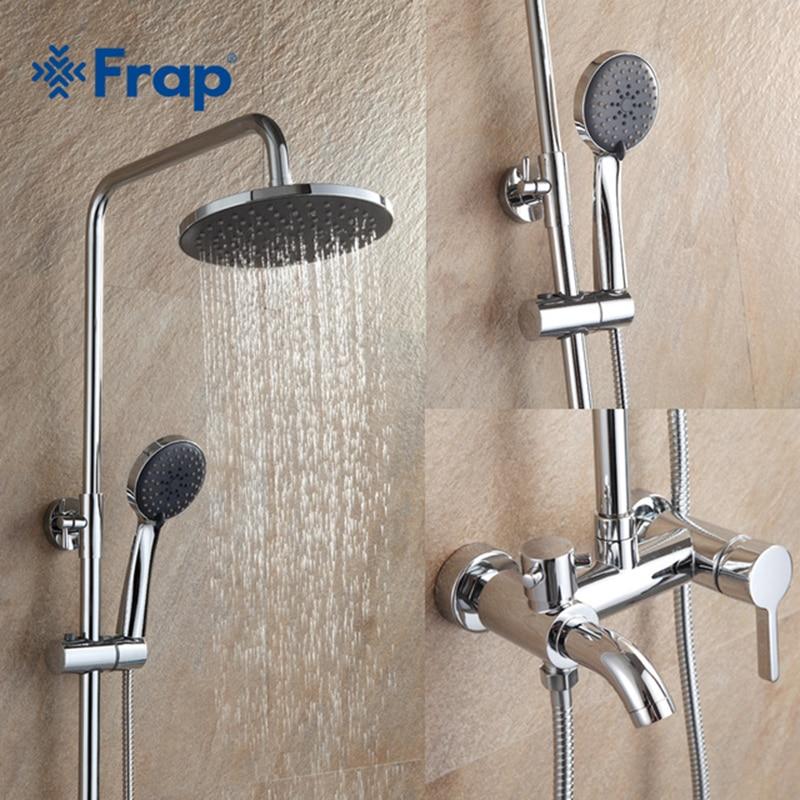 Frap 1 Set Bathroom Rainfall Shower Faucet Set Mixer Tap With Hand Sprayer Wall Mounted Chrome