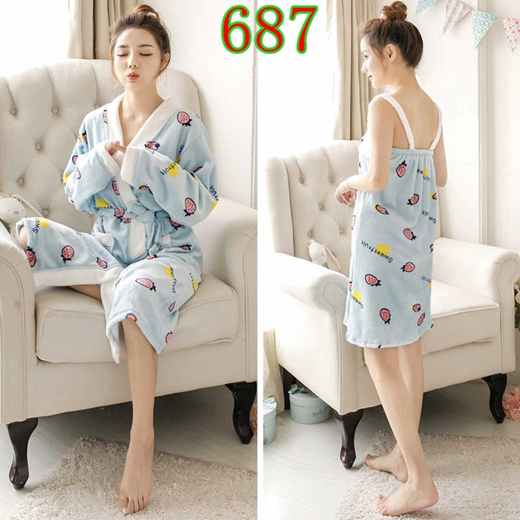 2PCS Sexy Thick Warm Flannel Robes Sets for Women 2018 Winter Coral Velvet Lingerie Night Dress Bathrobe Two Piece Set Nightgown 314
