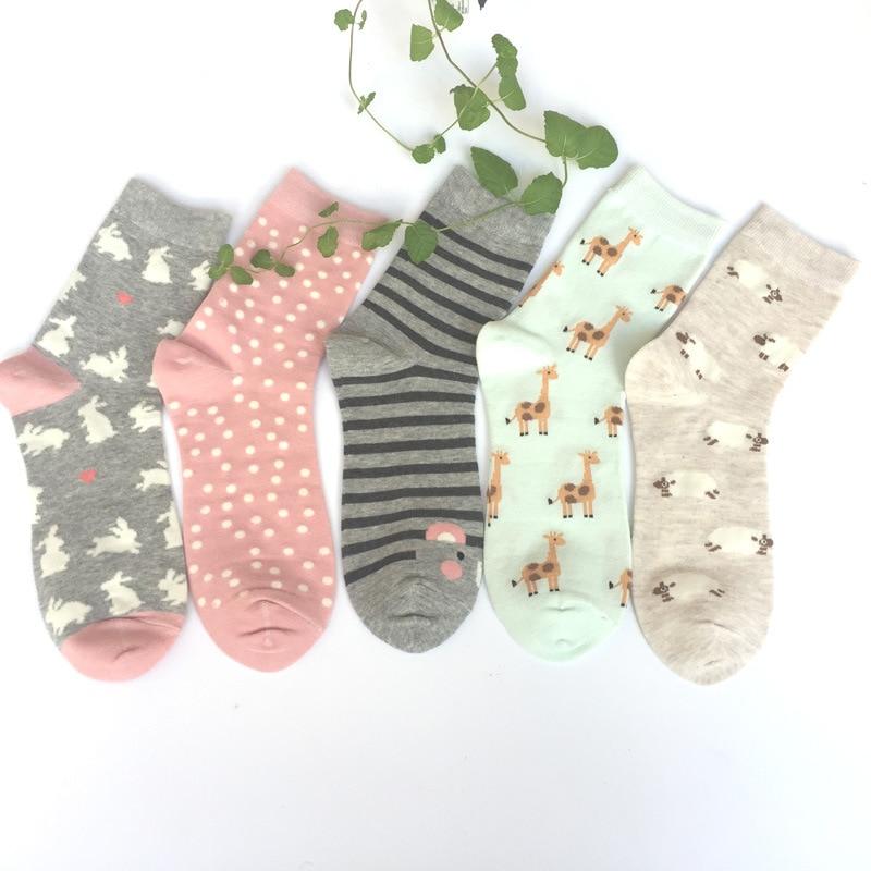 FOURETAW 1 Pair Cute Chic Cartoon Sheep Giraffe Dot Pattern Women Socks Creative Cotton Funny Socks for Female Girls Ladies