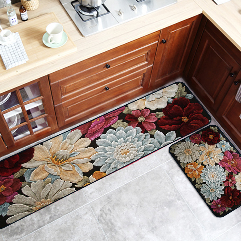 3D Flower Abstract Art Kitchen Strip Carpet Non-slip Rug Plush Printing Floor Mat Bathroom Door Mat Bedroom Geometric Carpet