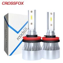 CROSSFOX 2Pcs 6000K White H7 LED 9005 HB3 9006 HB4 Headlight Bulb H1 H8 H9 H11 H4 авто Auto Light Car Lamps 8000LM 12V 24V