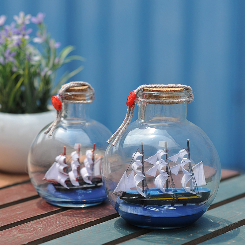 Sailing boat in drift bottle mediterranean glass pirate for Home decor gifts