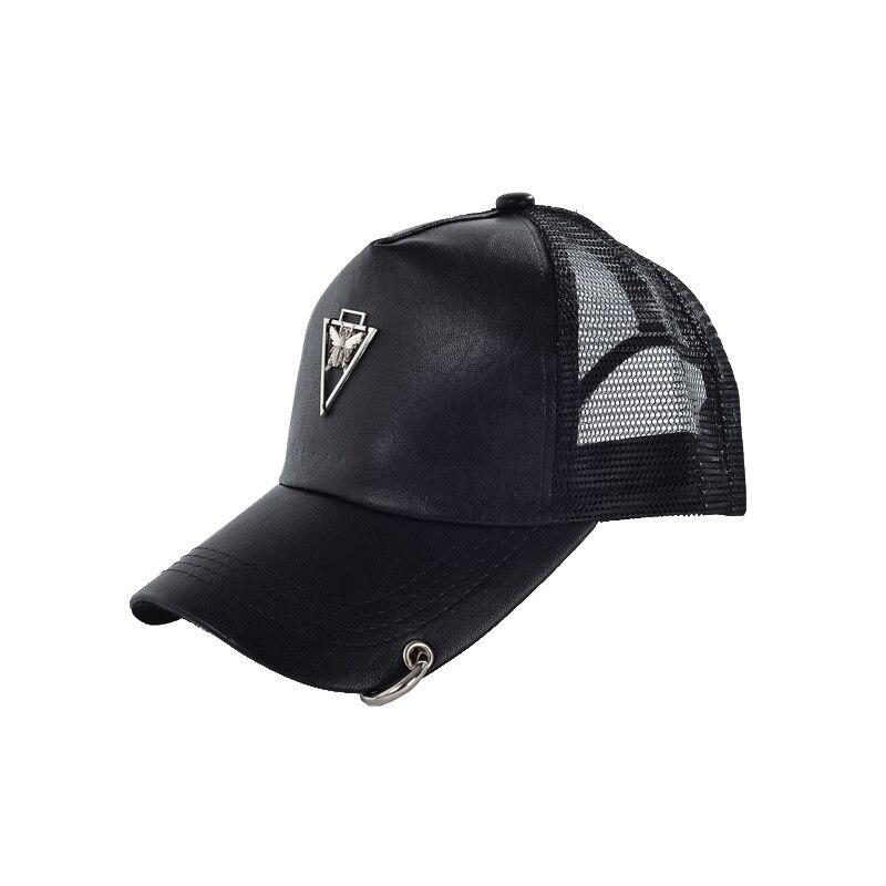 2017 nuevo Verano caliente de cuero negro Neto tapas para las mujeres de  los hombres camionero sombrero Femenino Punky gorro sombreros gorra de ...