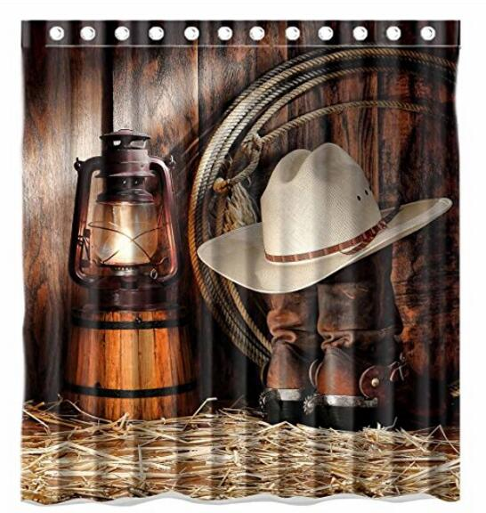 American West Rodeo Cowboy Printed Polyester Shower Curtain 66 X 72 Inch  American Style Bathroom Shower