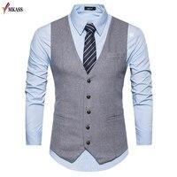 2017 Men Vests Suit V neck Business Vest Wedding Formal gilet homme Men Classic Vest Waistcoat Coletes kingsman costume S 2XL