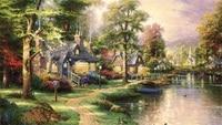 Free shipping famous Thomas Kinkade reproduction pastoral lakeside landscape art prints canvas