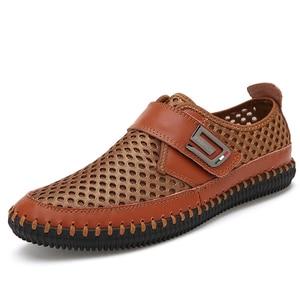 Image 2 - MAISMODA 2018 夏通気性メッシュの靴メンズカジュアルシューズ本革スリップブランドファッション夏の靴ビッグサイズ YL268