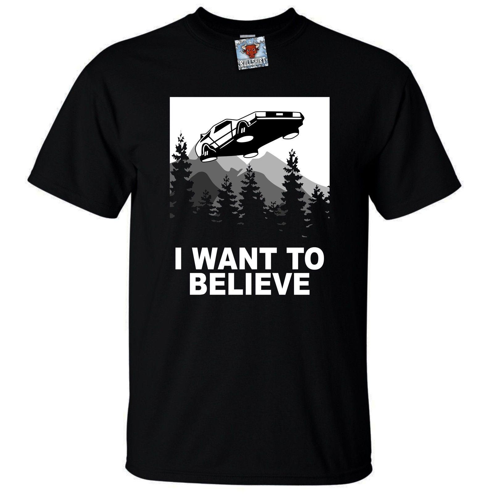 Мужские я хочу верить будущем Футболка-забавная футболка фантастика пародия путешествие во времени