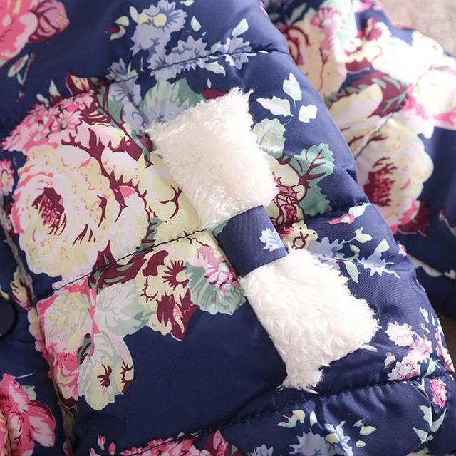 UNIKIDS  girls warm coat 2016 new baby winter long sleeve flower jacket children cotton-padded clothes kids christmas