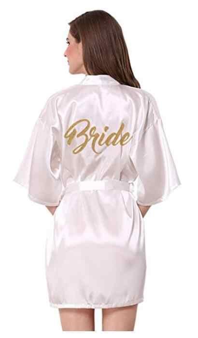 Golden Cetak Pengantin Satin Jubah Wanita Dama De Honor Bridesmaid Pernikahan Jubah Novia Kimono Bride Pesta Pembantu Kehormatan Jubah hadiah