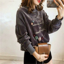 2019 For Spring Fashion Women Word Printed  Embroidery Pleuche Loose Casual Hoodie Coat