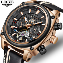 LIGE NEW Tourbillon Mechanical Watch Men Automatic Classic Rose Gold Leather Mechanical Wrist Watches Reloj Hombre 2019 Luxury цена и фото