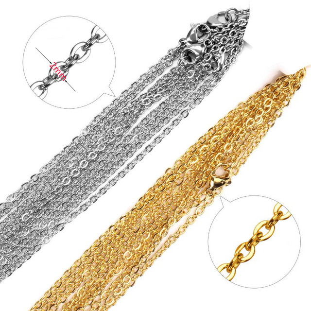 Semitree 10pcs/lot 50cm 2mm Gold Stainless Steel Link Chains Necklaces Fashion Jewelry Cuban Chains Wholesale Chain DIY Crafts