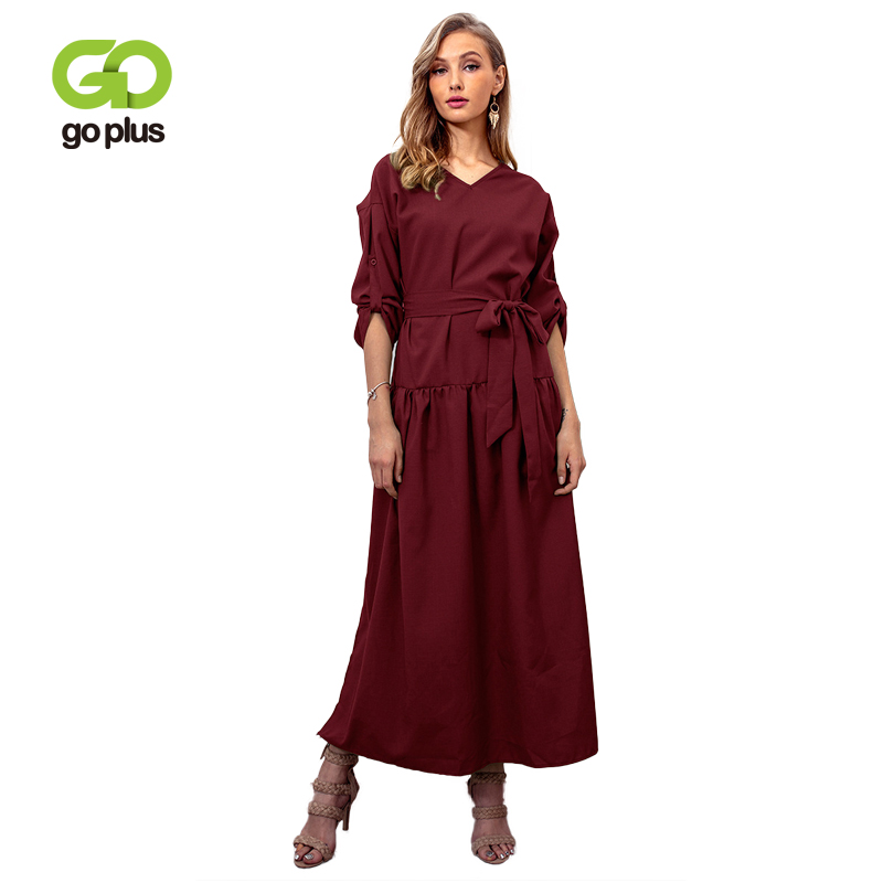 GOPLUS Fashion Sashes Solid Dress Women Long Sleeve V Neck Loose Dress Lady 2019 Spring Casual Plus Size Vestido Female Clothing in Dresses from Women 39 s Clothing