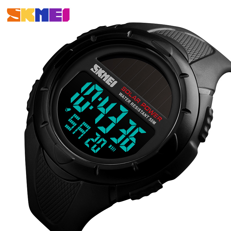 SKMEI Men Luminous Watches Sport Digital Mens Wristwatches Solar For Power Enviormentally Alarm Male Clock Reloj Hombre 1405