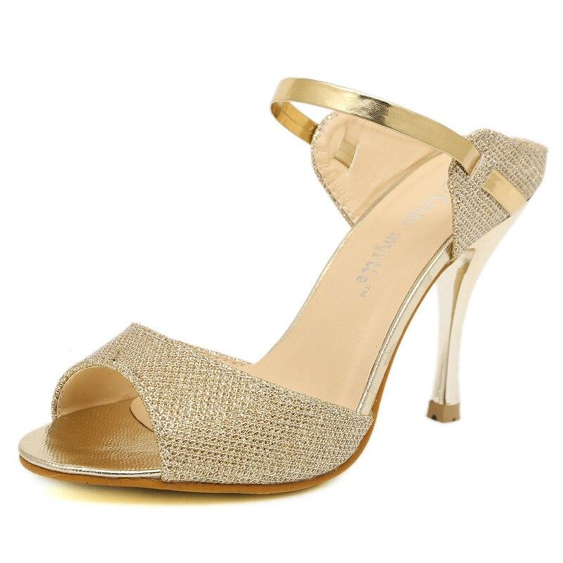 LAKESHI Summer Women Pumps Small Heels Wedding Shoes Gold Silver Stiletto High Heels Peep Toe Women Heel Sandals Ladies Shoes 4
