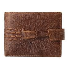 Brand Casual Wallet Men's Alligator Genuine Leather Wallets Tri-fold Credit&ID Card Holder Cash Dollar Purse Coin Bag