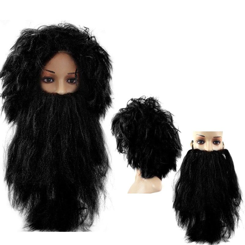 Halloween party cosplay adult wild man Savage Wig West India Headband Wig Beard Mask dress Decoration Cosplay Props(China)
