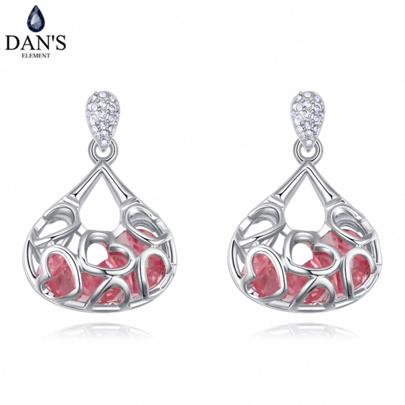 DANS 4 Colors Real Austrian crystals Stud earrings for women Earrings s New Sale Hot Round 128006