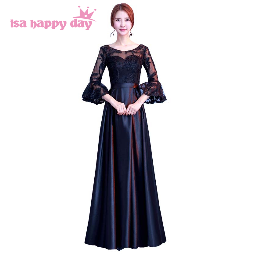 simple long new summer 2019 fashion women modest party lace sleeve black lace party   dress   sleeved   bridesmaids     dresses   H4183