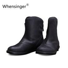 Whensinger 2016 Women Boots Spring Summer Female Full Grain Leather Ankle Handmade Elegant Fashion Round Toe X1504
