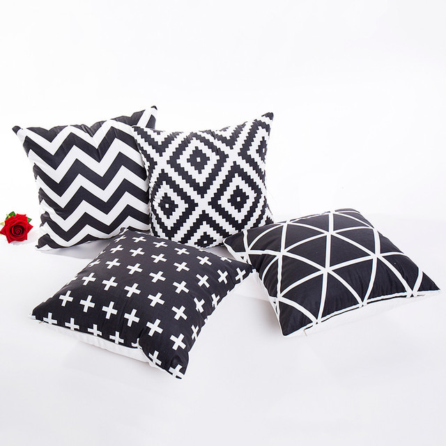 Ouneed Black White Polyester Throw Pillow Case Geometric