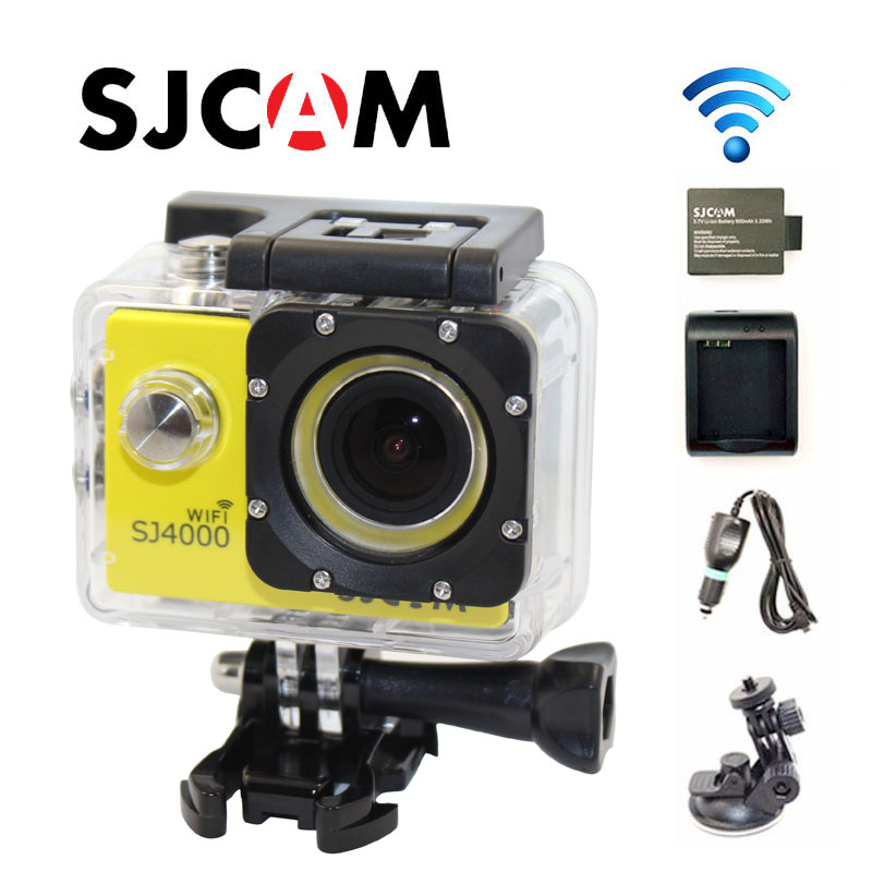 Free Shipping!!Original SJ4000 WiFi Full HD Sport Action Camera+Car Charger+Holder+Extra 1pcs battery+Battery Charger for DV Cam dste ct 3650 battery charger for contour 2350 2450 2900 c010410k hd gps 2 helmet camera black